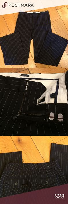 NWOT Gap Pinstripe Wide Leg Trousers Never worn or tried on, wide leg, below waist. Cotton and Lycra. Inseam measures 31 or 32 by my estimation. Front pockets. Size 2R GAP Pants Trousers