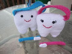 Crochet Tooth Fairy Pillows.  Pinky & Boy Blue.  They have pockets in the back for a child's tooth.