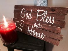 Rustic wooden sign. God Bless Our Home wooden sign. Rustic wall decor. Housewarming gift.