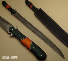 (KMS-1278) HAND MADE DAMASCUS STEEL SWORD / HUNTING KNIFE BY ★★★ KNIFE MAKER ★★★