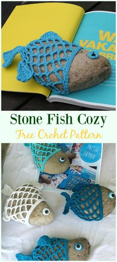 Crochet Patterns For Kids Crochet Stone Fish Cozy Free Pattern- Pebble Cozy Free Patterns Crochet Puff Flower, Crochet Fish, Crochet Flower Patterns, Love Crochet, Crochet Gifts, Crochet Yarn, Crochet Flowers, Crochet Stitches, Crochet Animals