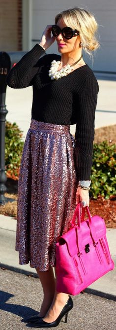 River Island Pink Sequin Calf Skirt-I kinda have a thing for sequin clothing right now I'd never pair it with tht but I adore this skirt
