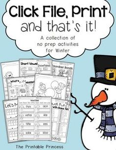 Free - Click File, Print {and that's it!} Winter Print & Go Activities for Kindergarten by The Printable Princess