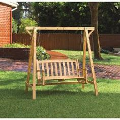 rustic outdoor furniture | rustic wood swing outdoor lawn garden furniture rustic garden swing is ...