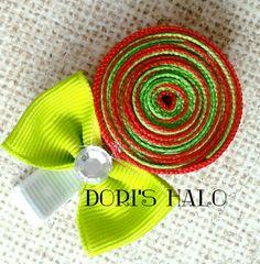 Christmas Candy Clip / No Slip Hair Clip / Christmas Lollipop / Ribbon Sculpture / Christmas Ribbon Sculpture / Christmas Hair Clip / Hair Accessories