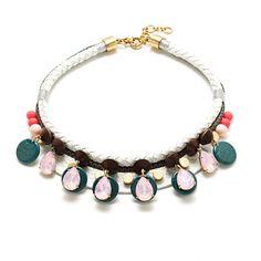 "Accessorize for the tropical vacation you hope to take with this plaited leather statement necklace—it makes a maxi tank dress an instant outfit. <ul><li>Length: 18"" with a 2 1/4"" extender chain for adjustable length.</li><li>Brass, leather cord, glass, metallic thread, resin.</li><li>Light gold ox plating.</li><li>Import.</li><li>Jewelry Design © 2014 J.Crew International, Inc.</li></ul>"