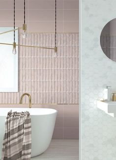 Bathroom design in pale pink