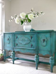Items similar to SOLD - Hand Painted French Country Cottage Chic Shabby Romantic Vintage Victorian Jacobean Aqua Turquoise Sideboard Cabinet Buffet on Etsy Shabby Chic Furniture, Shabby Chic Decor, Vintage Furniture, Shabby Chic Buffet, Victorian Furniture, Country Furniture, Distressed Furniture, Vintage Decor, French Country Cottage