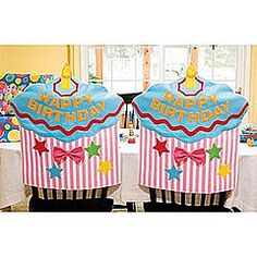 ~ imagine the birthday girl or boy entering the classroom and seeing their very own Birthday Chair waiting for them ~ cupcake-shaped chair cover ($12) ~ could copy this and make a simpler version with a Dr. Seuss theme ~ <3