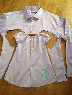 How great is this men's shirt into a girls dress!  Love this idea.