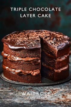 Sandwich together soft chocolate sponges with ganache buttercream and top with glossy icing to create a tall, dark and handsome showstopper. Tap for the recipe. Cooking Chocolate, Chocolate Recipes, Chocolate Cake, Baking Recipes, Cake Recipes, Dessert Recipes, Waitrose Food, Delicious Desserts, Yummy Food