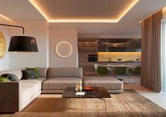 Két világos és egy melegebb színekkel berendezett és dekorált lakás képei alaprajzokkal - modern stílusban remek világítással