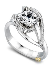 Engagement Ring of the Week: Swept Away - Allow yourself to get caught up in the Swept Away engagement ring. With its delicate design of pave set diamonds swirling around the double prong set center stone, it feels as light and airy as being in love.  http://www.markschneiderdesign.com/engagement-rings/contemporary-engagement-rings/swept-away-engagement-ring