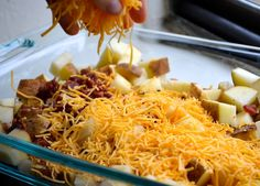 @: LOADED BAKED POTATO CASSEROLE...perfect for fellowship!  try with sweet potato for those who can't eat night shades.