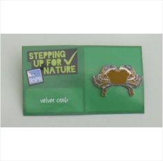 RSPB Enamel Pin Badge Velvet Crab on Green Stepping up for Nature Card Pin Badges, United Kingdom, Enamel, Velvet, Jewellery, Green, Nature, Cards, How To Make