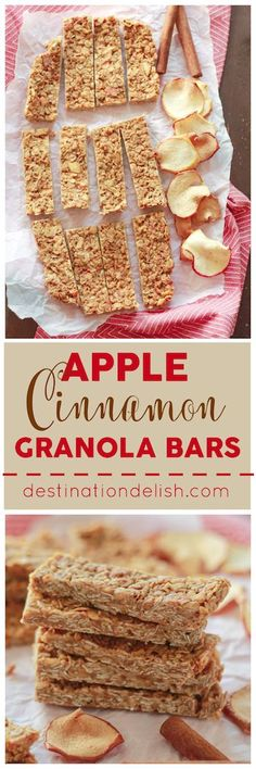 Apple Cinnamon Granola Bars - a healthy, homemade treat perfect for breakfast, a quick snack, or to pack in school lunches . Quick Snacks, Healthy Snacks For Kids, Healthy Homemade Snacks, Diet Snacks, Healthy Breakfasts, Eating Healthy, Healthy Food, Clean Eating, Homemade Smoothies