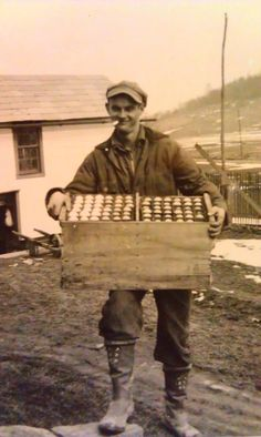 Darlene Finzer shared this great photo of her grandfather, C.L. Schwartz, with a crate full of eggs. See more vintage photos on our website.