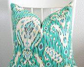 Decorative pillow cover - Throw pillow - Ikat Pillow - 26x26 - Emerald - Ivory - Aqua - Charcoal - Designer fabric
