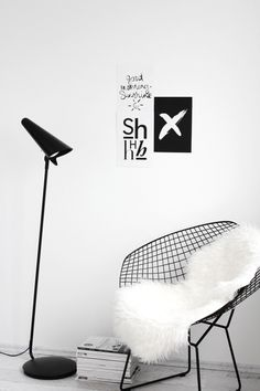 diamond chair, reading corner, ikea stockholm lamp, white interior, Scandinavian interior, Nordic interior http://frichic.com