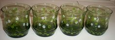 4 Corelle Spring Blossom Crazy Daisy Juice Glasses Tumbler Libbey Avocado Green | eBay