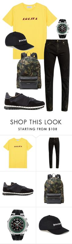 """Flw."" by borntodie-noangel ❤ liked on Polyvore featuring Nasaseasons, Yves Saint Laurent, Valentino, Alexander McQueen, Breitling, Palm Angels, men's fashion and menswear"
