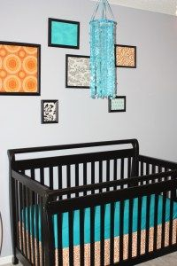 Bright gender neutral nursery  Fabric frames