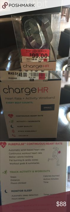 Fitbit HR CHARGE. Small black - gently used Used for a week. Works perfect! I love Fitbit platform and the challenges. This model has caller ID so you know when you have incoming calls to your cell phone. Syncs wireless. I only selling because my husband bought me an apple iwatch. This fit bit has HEART RATE MONITOR. (Pure pulse continuous heart rate) track activity and workouts, monitor sleep, display run stats and caller ID. Mobile and online tools.  It will be shipped in its original box…
