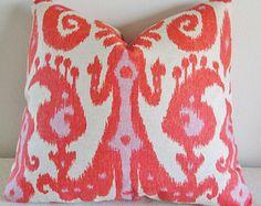 Pink Orange Ikat Decorative Pillow Cover 18x18, 20x20 Square Throw Pillow, Accent Pillow, Toss Pillow