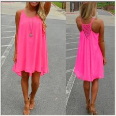 """LAST ONE Pink Lattice Back Summer Dress perfect for SO many occasions! Everyday, party, beach, cocktail, travel, vacation, wedding Beautiful bright pink color  Size SMALL : Bust (34-35""""), Waist (26""""), Hips (36-37""""), Length (28-29"""") ✳️Please note!! I had 1 person say this dress was """"way too big"""", but it fit TTS on me. Please know your size/measurements! If you would like ANY further measurements or have other questions, PLEASE ask!  I don't want you to have a dress that doesn't fit anymore…"""