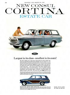Ford Consul Cortina MkI Estate Car advertisement taken from Country Life magazine. The car at the bottom of the page is the Super Estate, identified by the stick on, plastic wood on the side and the tailgate