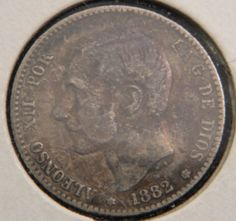 1882 Spain Spanish 1 Peseta Una Peseta Espana Coin by OlyTrader