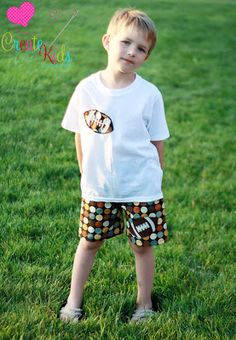 Aidan's Appliqued Shorts by Create Kids Couture, sizes 6-12 mo to children's 8