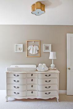 Vintage Yet Modern Gender Neutral Nursery...love the dresser!