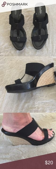 """Marvelous black wedges with comfort support! Marvelous black Wedges with lots of support! These have stretchy side straps with one lovely patent leather strip down the center over the toes. 4"""" heels with lots of support in the front platform at 1"""". These are in great shape. Have a little Scuffing on the sides in the black. See pic #2. Wonderful for every day wear! Charles David Shoes Sandals"""