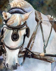 Percheron White Horse Art Print of Charleston by rachelsstudio - Percheron in Charleston