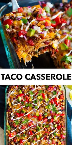Taco Casserole - Total comfort food! Hearty corn tortillas are layered with a perfectly seasoned beef filling that's also loaded up with lots of veggies, then it's topped with tons of cheese. And it's layered again and again. It's like a Tex-Mex lasagna and it's undeniably delicious! #taco #casserole #comfortfood #recipe Taco Casserole, Casserole Recipes, Meat Recipes, Mexican Food Recipes, Dinner Recipes, Cooking Recipes, Tasty Tacos Recipe, Mexican Dishes, Kitchen Recipes