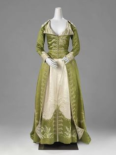 1786-1789, the Netherlands - Redingote or dress - Silk, chenille, floss
