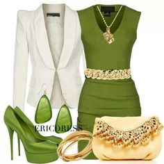 Very lovely green dress, and accompanying accessories.
