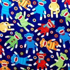 Sock Monkey Funky Cute Button ON Blue Retro Fabric Cotton Wall ART FQ   eBay