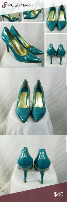 New Nine West Flax Teal Green and Gold Heels Sz 6M New Nine West Flax Teal Green and Gold Heels Sz 6M New Without box Nine West Shoes Heels