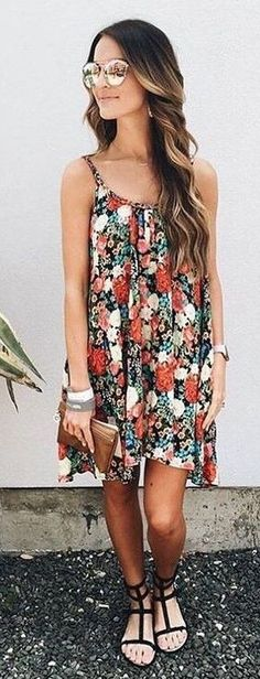 #spring #summer #fashion #outfitideas Floral Swing Dress