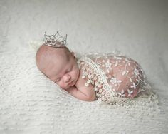 Cream Fringe Lace Wrap AND/OR Rhinestone Baby Crown for