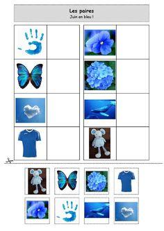 Fiche d'activité niveau maternelle de type association - Les paires - Juin en bleu