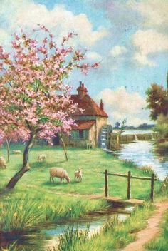 Art~ The Garden Cottage And Water Mill Standing By The Edge Of The Lake.