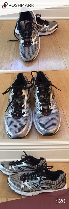 Men's Saucony Oasis sneakers Men's silver and black with some red detail Suacony Oasis sneakers. Gray mesh over black with black patent Saucony logo and shiny silver detail. Size 9.5. Worn but recently cleaned and in good condition. Saucony Shoes Sneakers