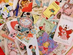 100 Vintage Greeting Cards Ephemera Collage Craft Party All Occasion Art Deco 40s 50s 60s Scrapbooking Supply