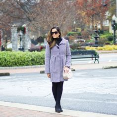 Houndstooth coat with black booties. Winter wardrobe   Instagram: my.southern.style