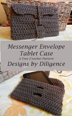 the Messenger Envelope Tablet Case is a great free  beginner crochet pattern found on designs by diligence. I perfect gift for Father's Day.