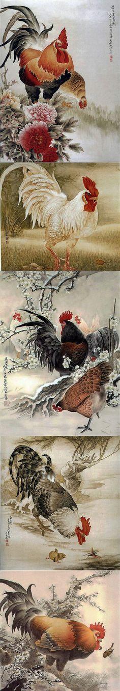 Китайская живопись – Петухи, куры, цыплята.
