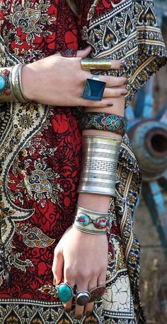 Ethnic Boheme tribal inspiration stacked bracelets & gypsy chunky rings for a modern hippie boho chic style. FOLLOW http://www.pinterest.com/happygolicky/the-best-boho-chic-fashion-bohemian-jewelry-gypsy-/ for the BEST Bohemian fashion trends in clothing & jewelry.